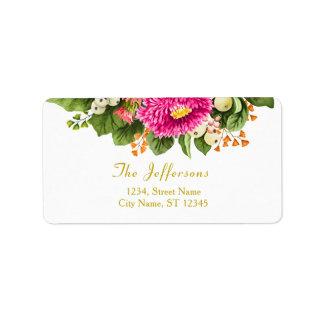 Étiquettes de adresse vintages de roses indien de