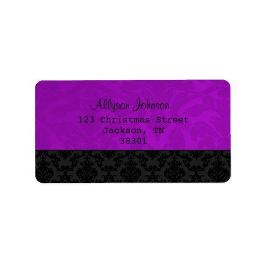 Étiquettes de adresse vintages pourpres et noirs