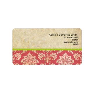 Étiquettes de adresse vintages roses et verts de d étiquette d'adresse
