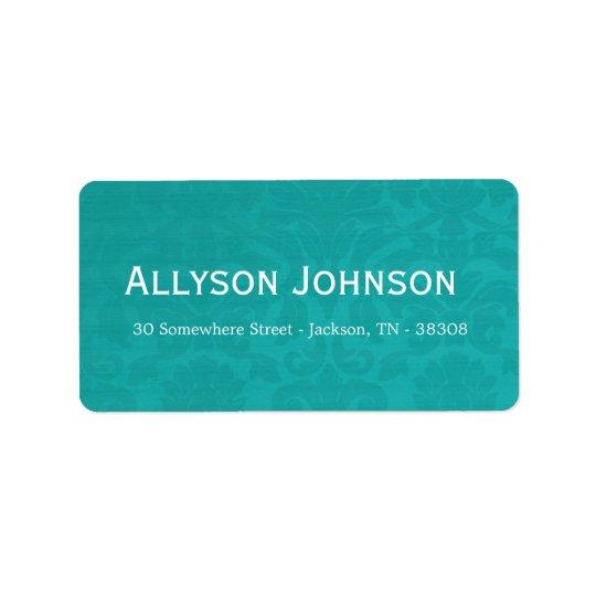 Étiquettes de adresse vintages turquoises