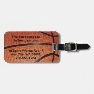 Étiquettes de bagage de conception de basket-ball étiquette pour bagages