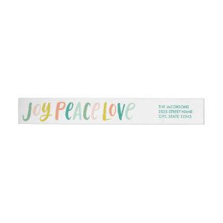 Étiquettes de bouclage d'amour de paix de joie de