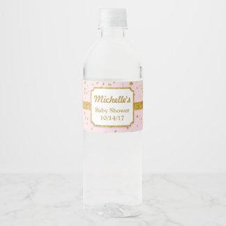 Étiquettes de bouteille d'eau de douche de rose et