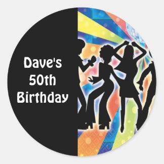 Étiquettes de cadeau d'anniversaire de danse de adhésifs ronds