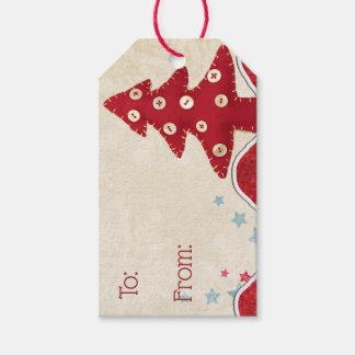 Étiquettes de cadeau d'arbre et de renne de Noël