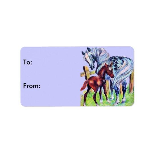 Étiquettes de cadeau de bébé de maman de chevaux