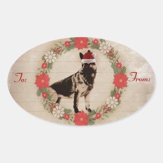 Étiquettes de cadeau de berger allemand