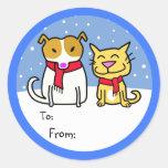 Étiquettes de cadeau de chien et de chat autocollant rond