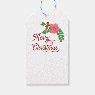 Étiquettes de cadeau de Flora de Joyeux Noël