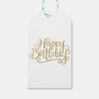 Étiquettes de cadeau de joyeux anniversaire d'or