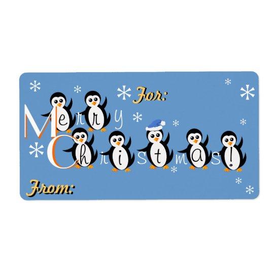 """Étiquettes de cadeau de Joyeux Noël """"de pingouins"""