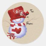Étiquettes de cadeau de Noël de bonhomme de neige Adhésifs