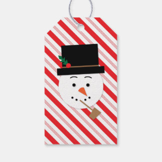 Étiquettes de cadeau de Noël de rayure de sucre de