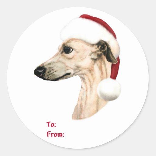 Tiquettes de cadeau de p re no l de faon de no l sticker rond zazzle - Cadeau de noel a vendre ...