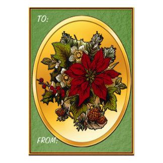 Étiquettes de cadeau de poinsettia de Noël Carte De Visite Grand Format