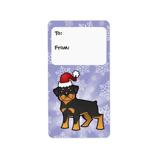Étiquettes de cadeau de rottweiler de Noël