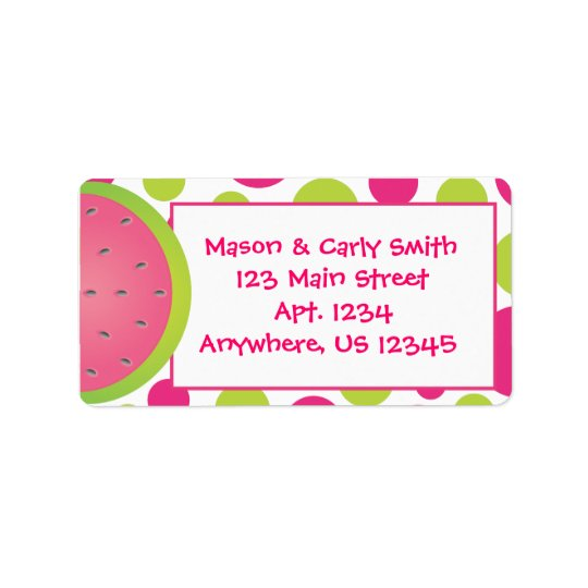 Étiquettes de dot address de polka de pastèque