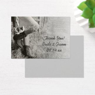 Étiquettes de faveur de cow-girl et de mariage de cartes de visite