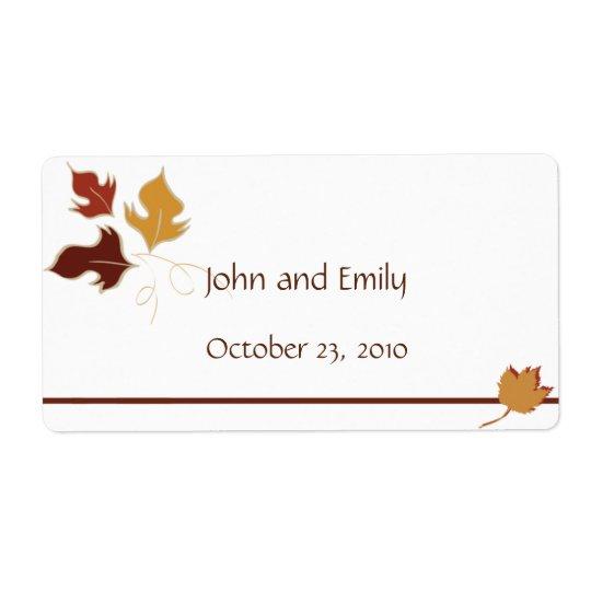 Étiquettes de faveur de mariage de automne