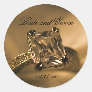 Étiquettes de faveur de mariage de bague à diamant