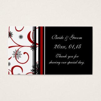 Étiquettes de faveur de mariage d'hiver de flocons cartes de visite