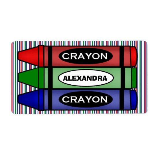 Étiquettes de fournitures scolaires avec le nom