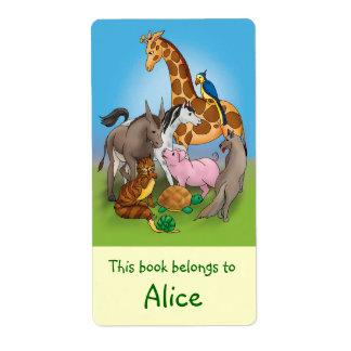 Étiquettes de livre avec les animaux mignons