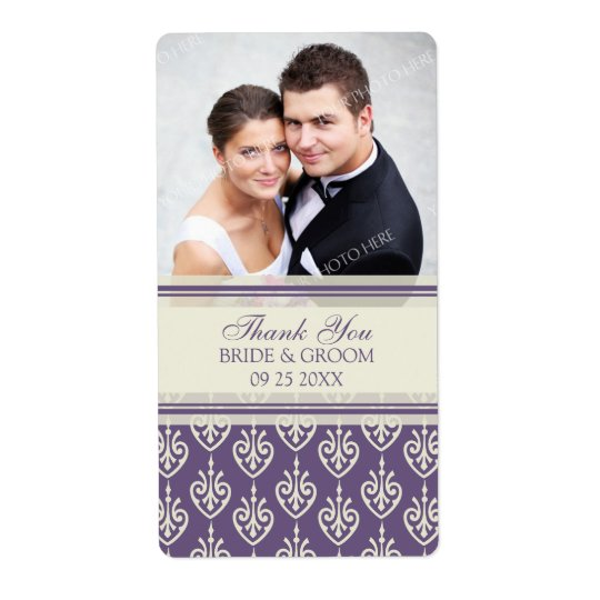 Étiquettes de mariage de photo de motif de crème d