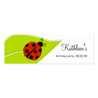 Étiquettes de Merci de coccinelle Carte De Visite Petit Format