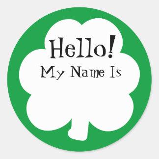 Étiquettes de nom d'autocollant de shamrock