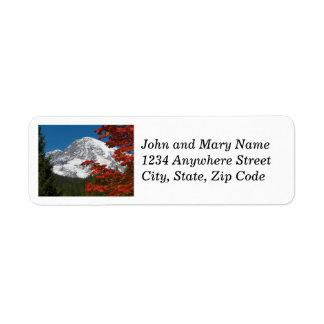 Étiquettes de photo du mont Rainier et de feuille