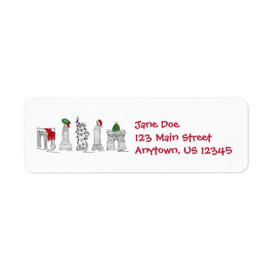 Étiquettes de points de repère de Noël de Noël de