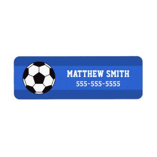 Étiquettes de propriété du football - bleu