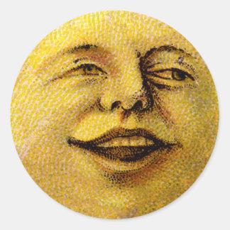 Étiquettes de sourire de faveur de lune de cru