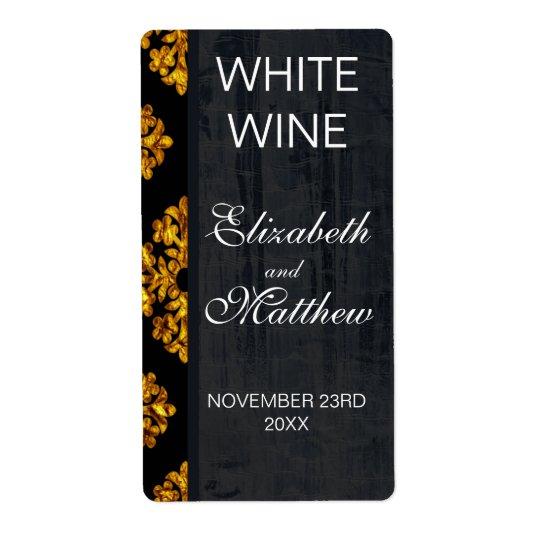 Étiquettes de vin de mariage damassé d'or