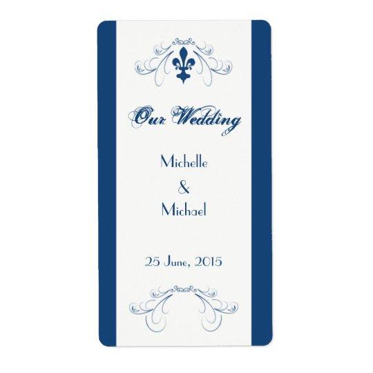 Étiquettes de Wedding Fleur de Lis Wine (bleu-fonc