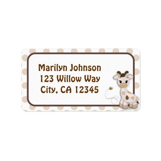 Étiquettes d'étiquette de adresse de girafe et