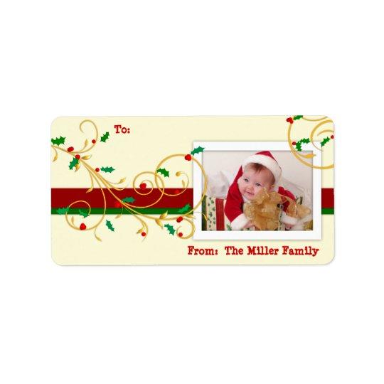 Étiquettes d'étiquette de cadeau de PHOTO de