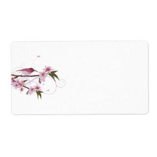 Étiquettes d'expédition roses de colibri et de fle