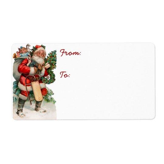 Étiquettes d'expédition vintages de Père Noël d'Al