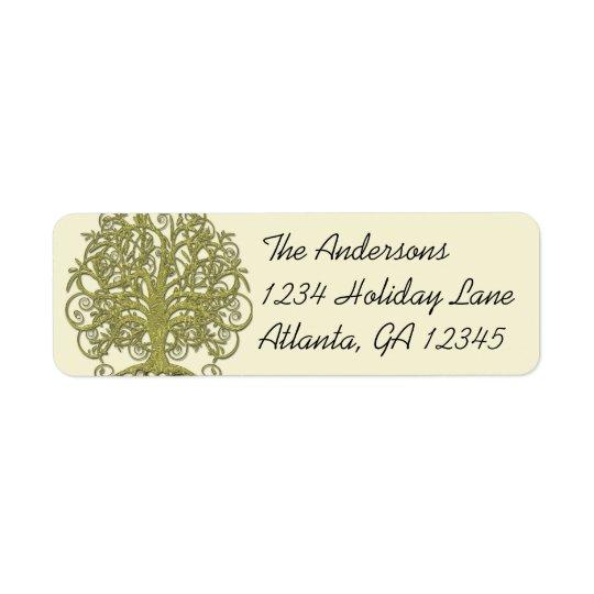 Étiquettes d'or d'arbre de remous de vert de chaux