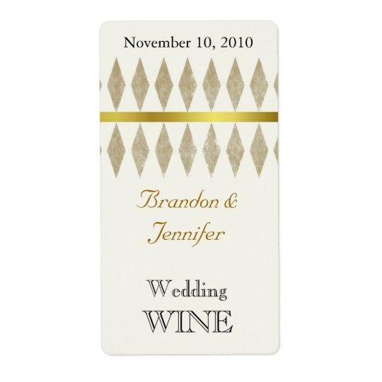 Étiquettes d'or de vin de mariage de diamants de B