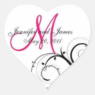 Étiquettes élégants de faveur de mariage de autocollant en cœur