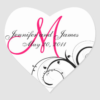 Étiquettes élégants de faveur de mariage de sticker cœur