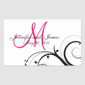 Étiquettes élégants de vin de mariage de sticker rectangulaire
