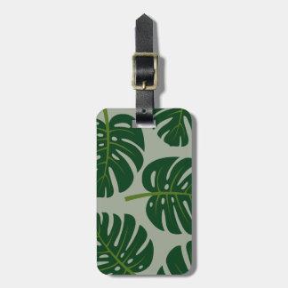 Étiquettes en feuille de palmier tropicales de étiquette à bagage