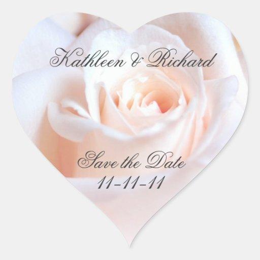 Étiquettes en forme de coeur de mariage rose roman autocollants