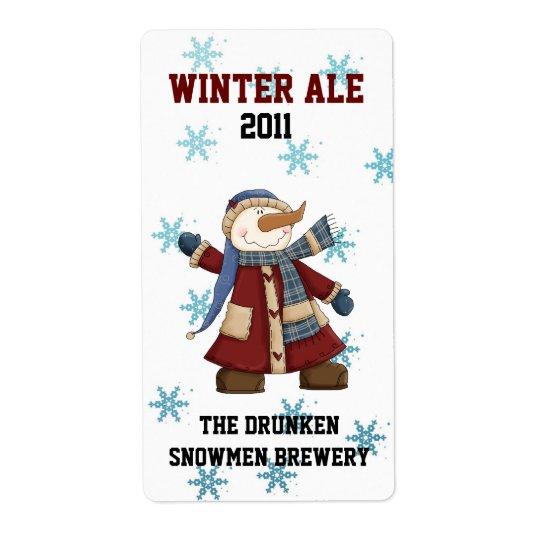 Étiquettes faits sur commande de bière d'hiver de