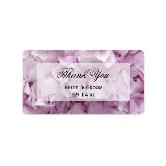 Étiquettes florales de faveur de Merci d'hortensia Étiquettes D'adresse
