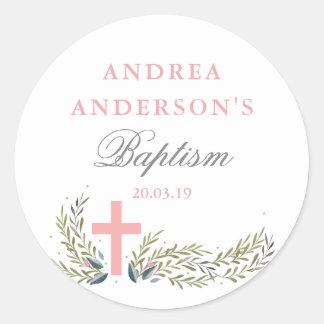 Étiquettes florales roses d'autocollant de baptême